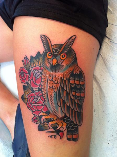 Old School Leg Owl Tattoo By Anchors Tattoo