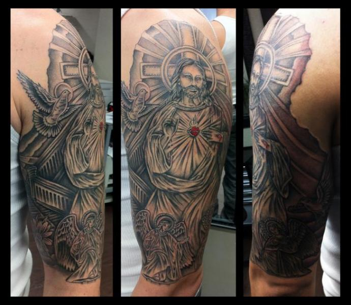 Shoulder Christs Tattoo by Anchors Tattoo