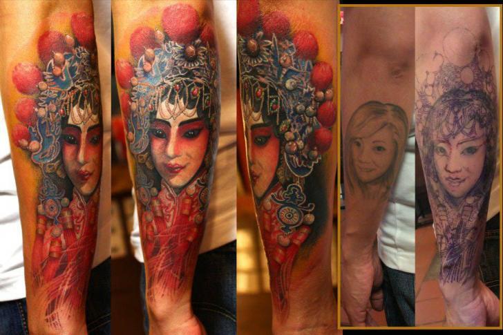 Tatuaje Brazo Japoneses Geisha por Orient Soul