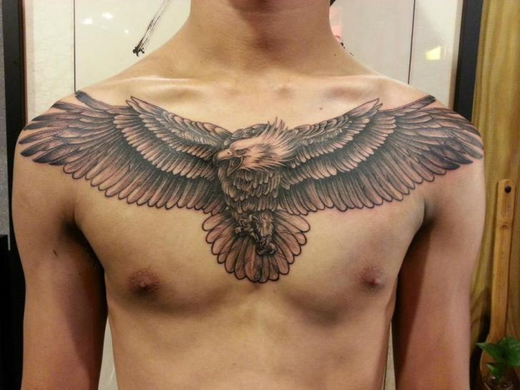 Realistic Chest Eagle Tattoo by Orient Soul