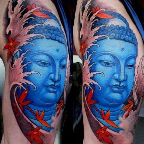 Tatuaggio Gamba Giapponesi Buddha di Orient Soul