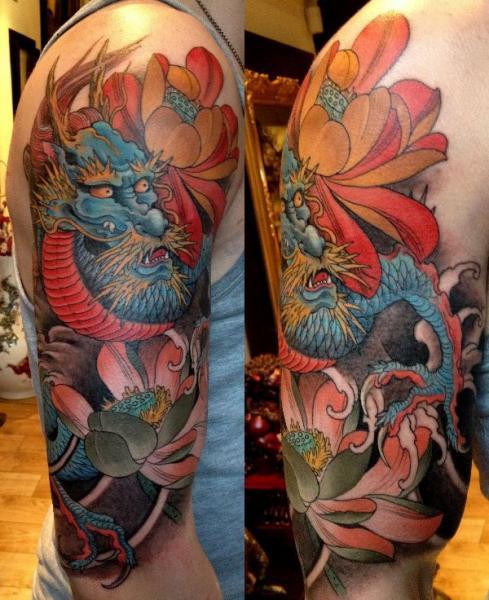 Tatuaje Hombro Japoneses Dragón por Orient Soul