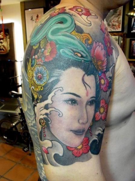 Shoulder Japanese Geisha Tattoo by Orient Soul