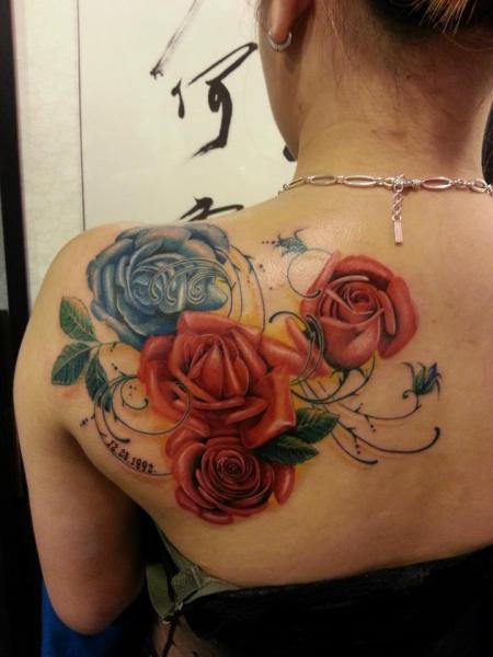 Shoulder Realistic Flower Rose Tattoo by Orient Soul
