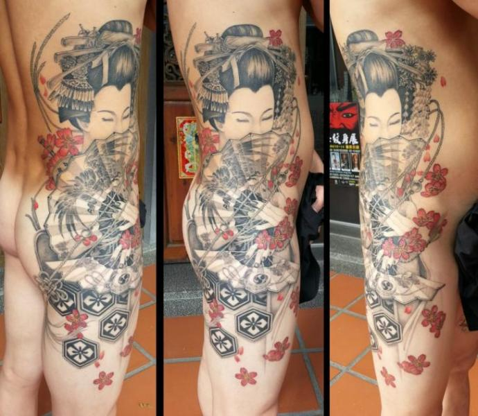 Side Japanese Geisha Tattoo by Orient Soul