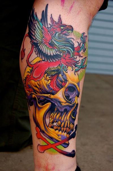 Arm Skull Dragon Tattoo by Adam Barton