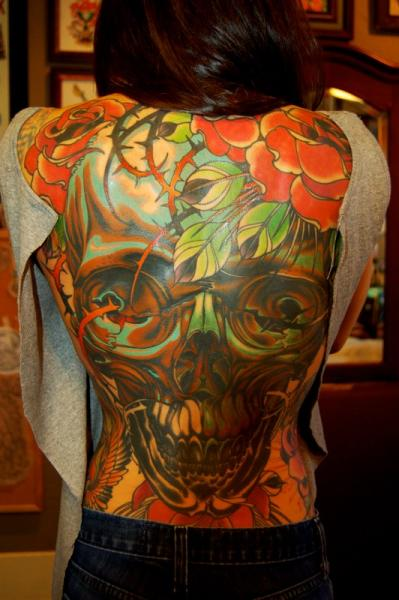 Skull Back Tattoo by Adam Barton