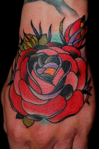 Old School Flower Hand Tattoo By Adam Barton