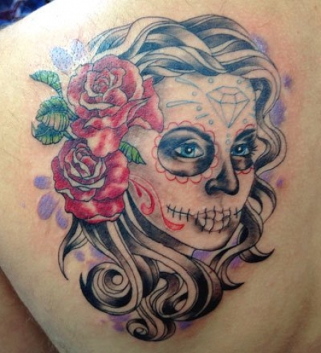 Shoulder Mexican Skull Tattoo by Adept Tattoo