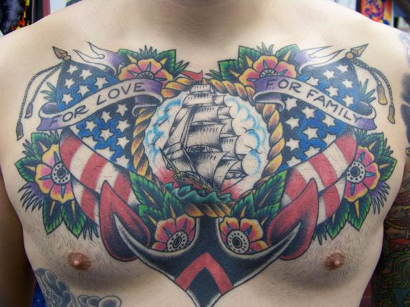 Brust Old School Anker Usa Tattoo von Aloha Monkey Tattoo
