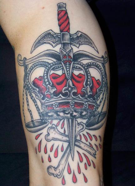 Old School Crown Tattoo by Aloha Monkey Tattoo
