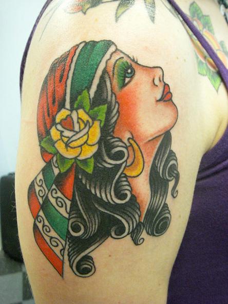 Shoulder New School Gypsy Tattoo by Aloha Monkey Tattoo
