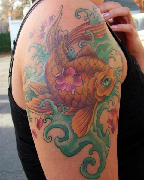 Shoulder Japanese Carp Tattoo by Altered Skin