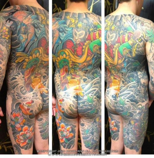 Japanese Back Body Tattoo by American Made Tattoo