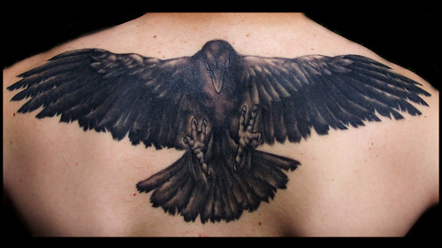 Realistic Raven Back Tattoo by Apocalypse Tattoo