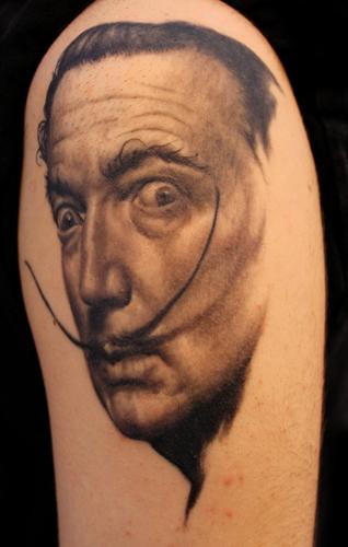 Shoulder Portrait Realistic Salvador Dali Tattoo by Apocalypse Tattoo