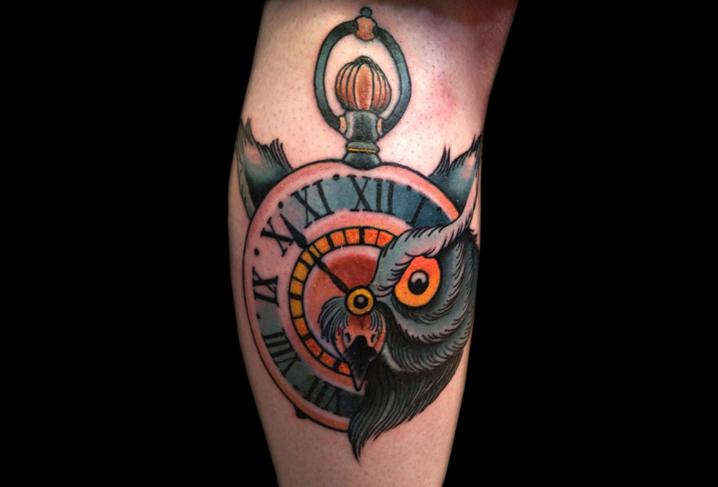 Arm Uhr Old School Eulen Tattoo von Artwork Rebels