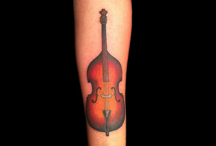Arm Realistic Cello Tattoo by Artwork Rebels