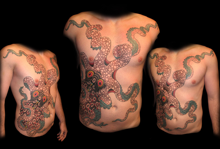 Belly Body Octopus Tattoo by Artwork Rebels