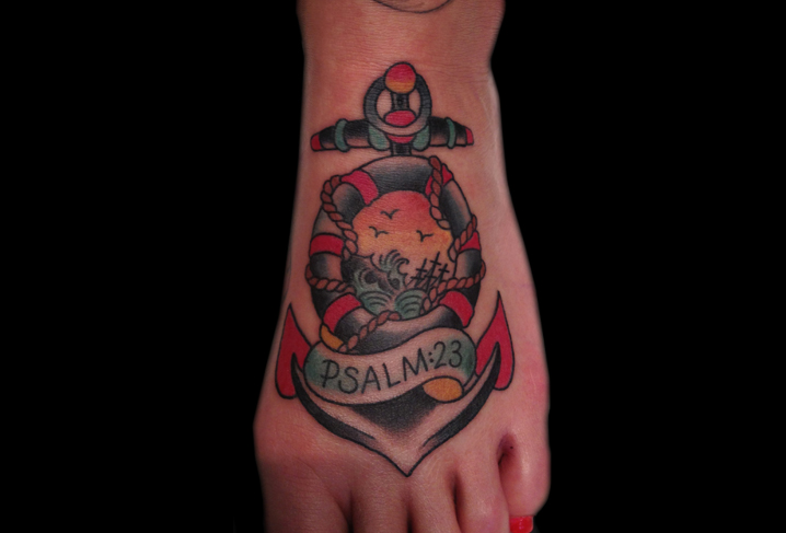Old School Foot Anchor Tattoo by Artwork Rebels