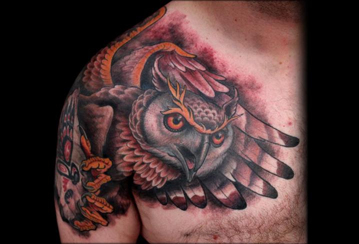 Shoulder Old School Owl Tattoo by Artwork Rebels