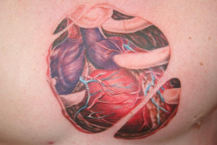 Chest Heart Tattoo by Bent n Twiztid