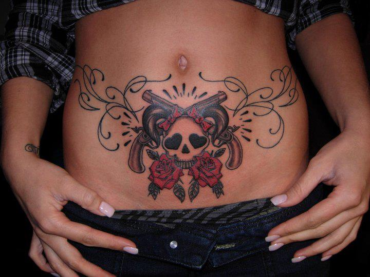 Skull Gun Belly Tattoo by Burning Monk Tattoo
