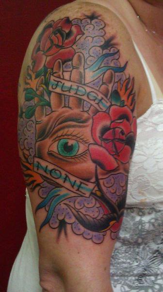 New School Flower Hand Tattoo by Big Kahuna Tattoo