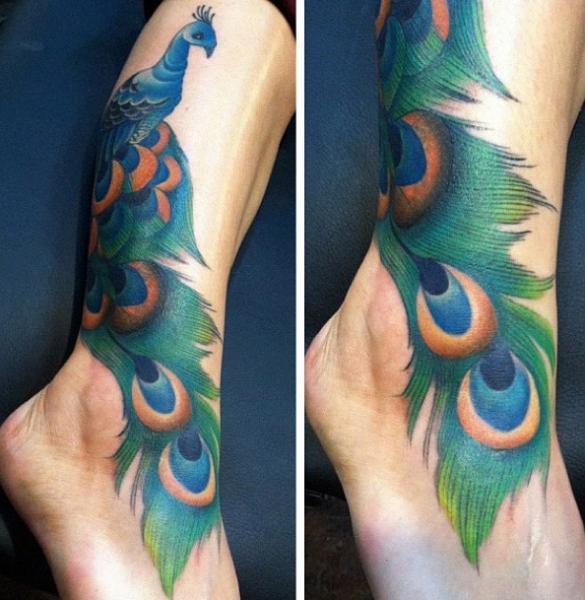 Fuß Pfau Knöchel Tattoo Von Black 13 Tattoo