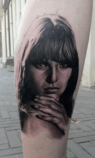 Portrait Realistic Calf Women Tattoo by Black 13 Tattoo