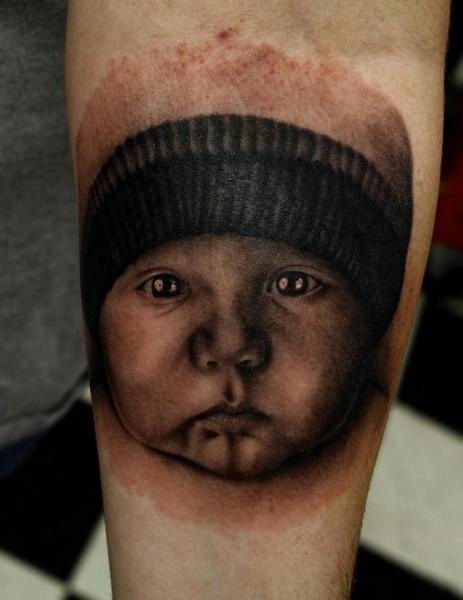 Portrait Realistic Children Hat Tattoo by Black 13 Tattoo