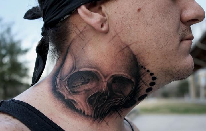 Skull Neck Tattoo by Black 13 Tattoo