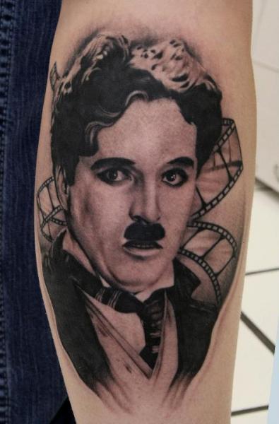 Portrait Charlie Chaplin Tattoo by Black 13 Tattoo