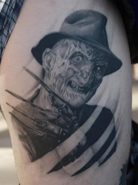 Fantasy Thigh Nightmare Tattoo by Black 13 Tattoo