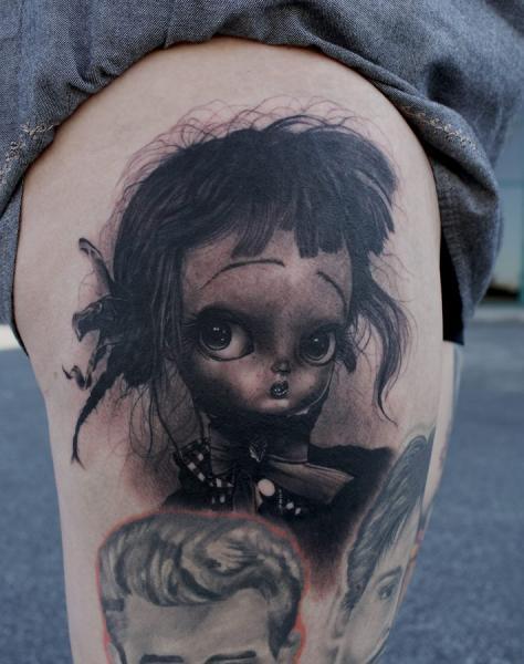 Tatuaggio Fantasy Ritratti Coscia di Black 13 Tattoo
