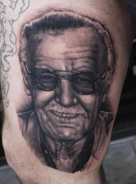 Portrait Realistic Thigh Stan Lee Tattoo by Black 13 Tattoo