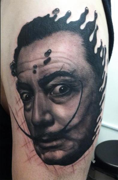 Portrait Realistic Salvador Dali Tattoo by Black 13 Tattoo