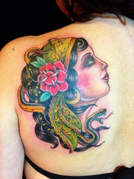 New School Back Gypsy Tattoo by Black Cat Tattoos