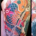 Leg Japanese Carp Koi tattoo by Black Cat Tattoos