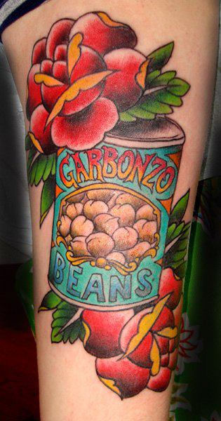 Old School Flower Bean Tattoo by Black Cat Tattoos