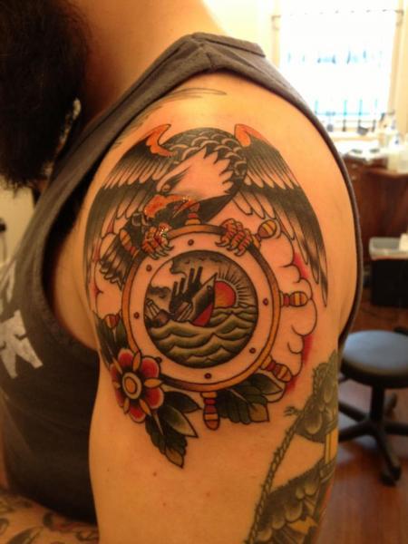 Shoulder Old School Eagle Tattoo by Black Cat Tattoos