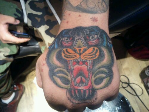 New School Hand Tiger Tattoo by Bobby Rotten