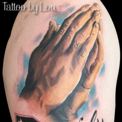 Realistic Praying Hands Tattoo by Bohemian Tattoo Arts