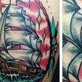 Old School Galleon tattoo by Blood Sweat Tears