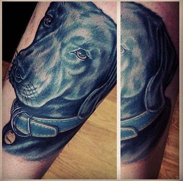 Realistic Dog Tattoo by Blood Sweat Tears