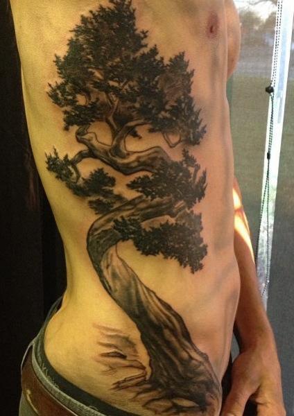 Realistic Side Tree Tattoo by Blood Sweat Tears