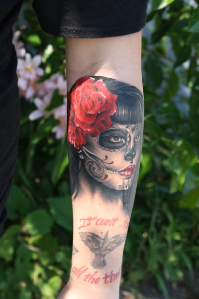 Arm Mexican Skull Tattoo by Bugaboo Tattoo