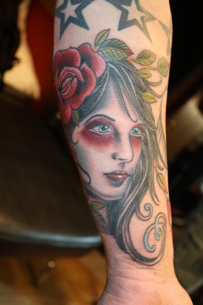 Arm Old School Tattoo by Bugaboo Tattoo