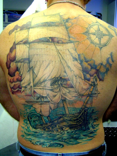 Realistic Back Galleon Wind Rose Tattoo by Bugaboo Tattoo