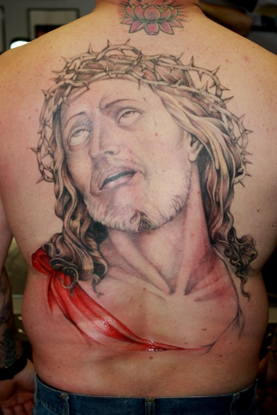 Back Jesus Religious Tattoo by Bugaboo Tattoo